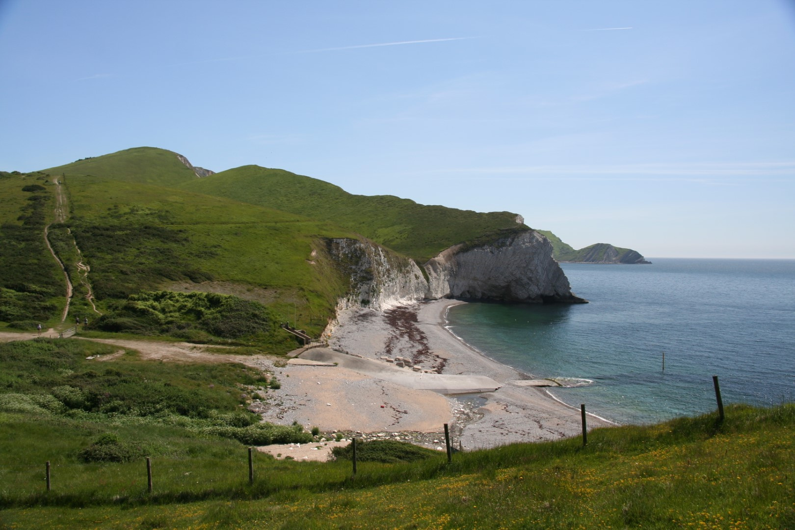 Arish Mell with the coast path on the left.