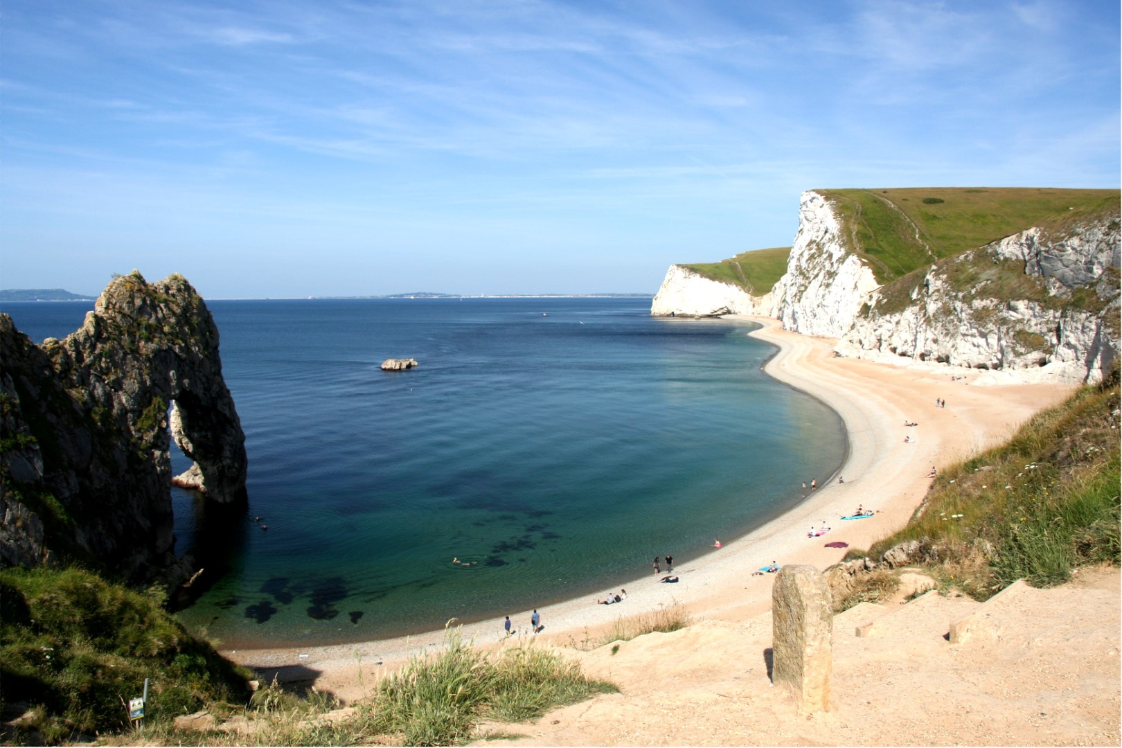 Durdle Door and beach in the morning. All is quiet still...