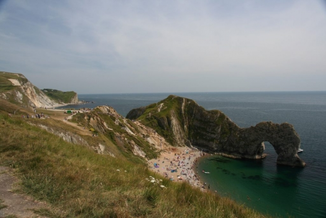 Durdle Door on a busy summer afternoon.