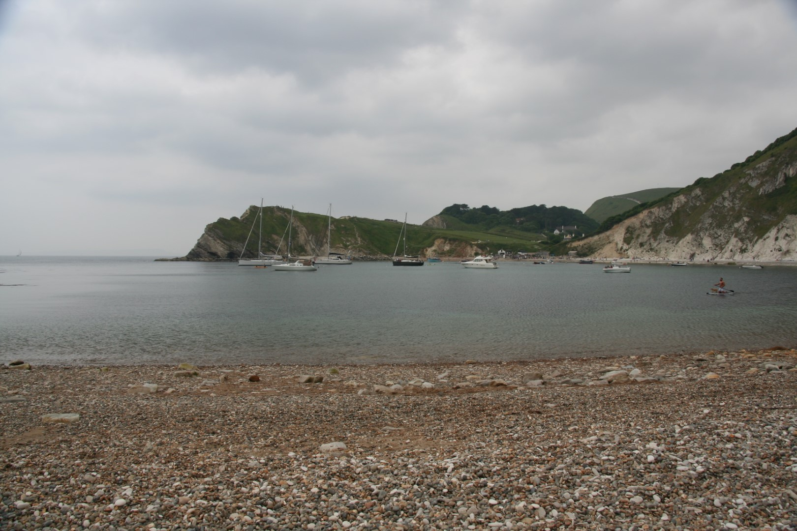 Lulworth Cove beach - not as sandy as you would hope.