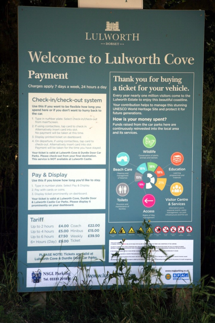 Parking charges in Lulworth.