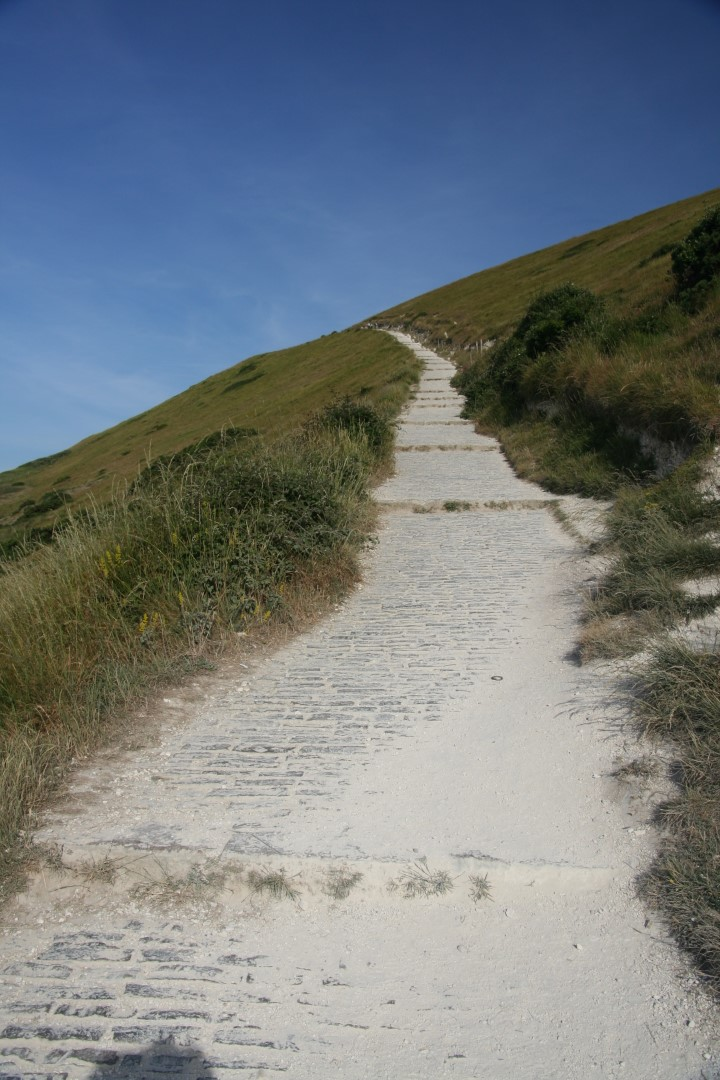 Steep path up from Lulworth towards Durdle Door.